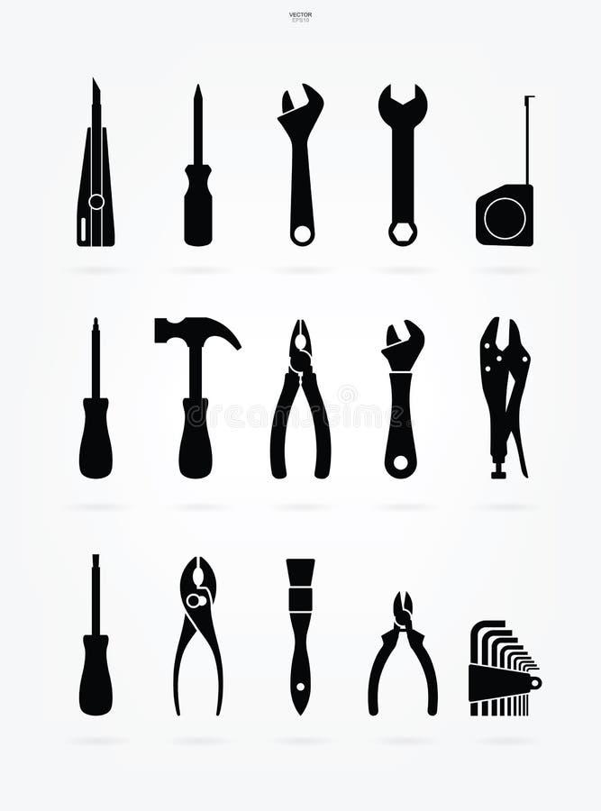 Uppsättning för hantverkarehjälpmedelsymbol Teknikerhjälpmedeltecken och symbol vektor stock illustrationer