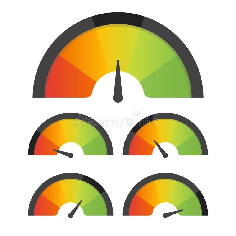 Uppsättning för hastighetsmätare för meter för kundtillfredsställelse också vektor för coreldrawillustration vektor illustrationer