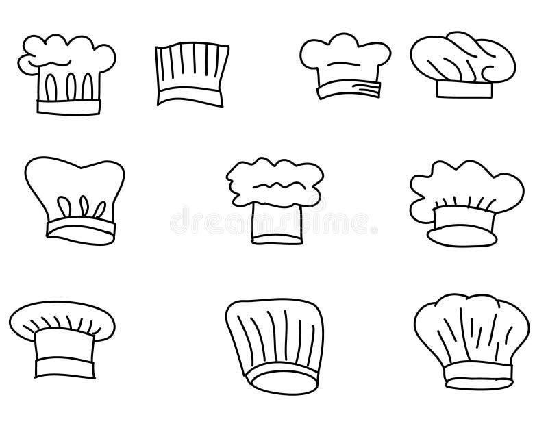 Uppsättning för hattkockvektor royaltyfri illustrationer