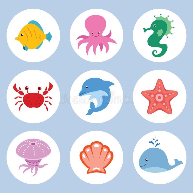 Uppsättning för havsdjur royaltyfri illustrationer