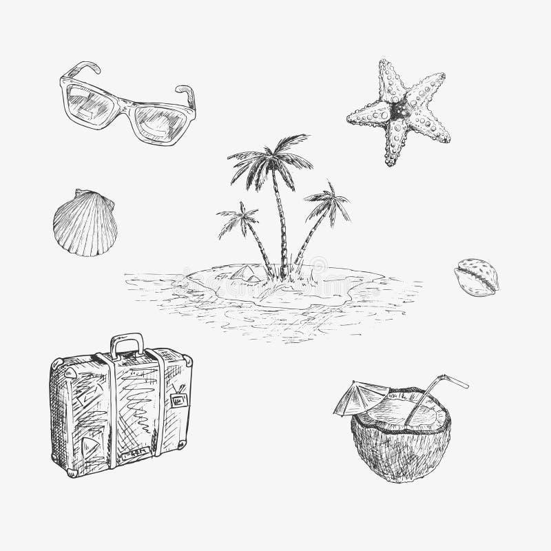 Uppsättning för havslopp tecknade handillustrationer stock illustrationer