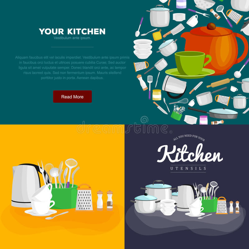 Uppsättning för hem- och restaurangkitchenwarebaner som lagar mat utrustning, kökredskapsamling, inhemskt matlagningstål och vektor illustrationer