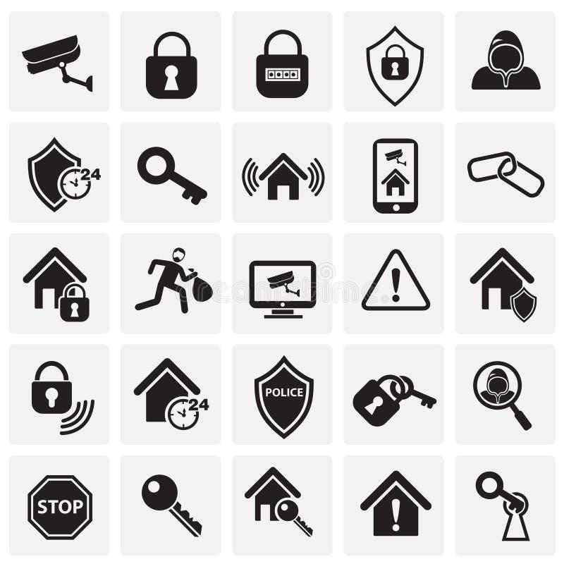Uppsättning för hem- säkerhet på fyrkantbakgrund royaltyfri illustrationer