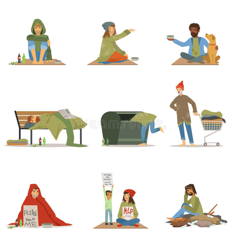 Uppsättning för hemlöst folk Män kvinnor, barn som behöver hjälpvektorillustrationer vektor illustrationer