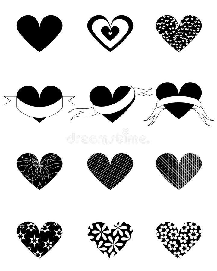 Uppsättning för hjärtaformvektor stock illustrationer