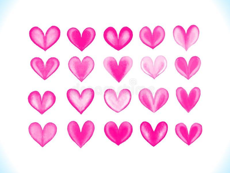 Uppsättning för hjärtor för färgrik vattenfärgvektor rosa royaltyfri illustrationer