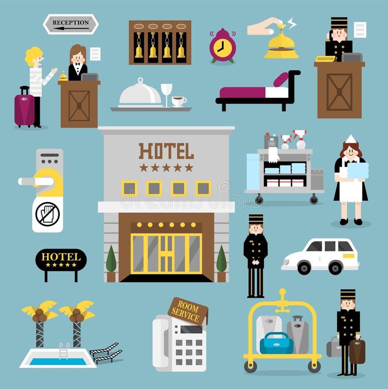 Uppsättning A för hotellservice stock illustrationer