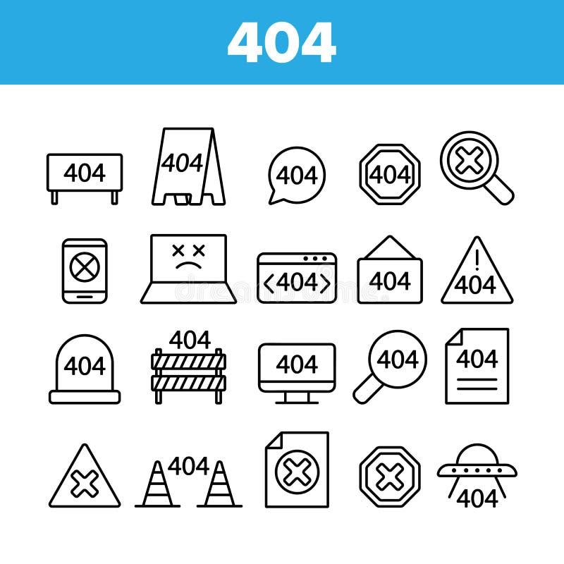 Uppsättning för 404 för HTTP-felmeddelande symboler för vektor linjär royaltyfri illustrationer