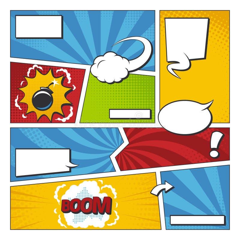 Uppsättning för humorbokvektorram med anförandebubblor Komikersidamall royaltyfri illustrationer