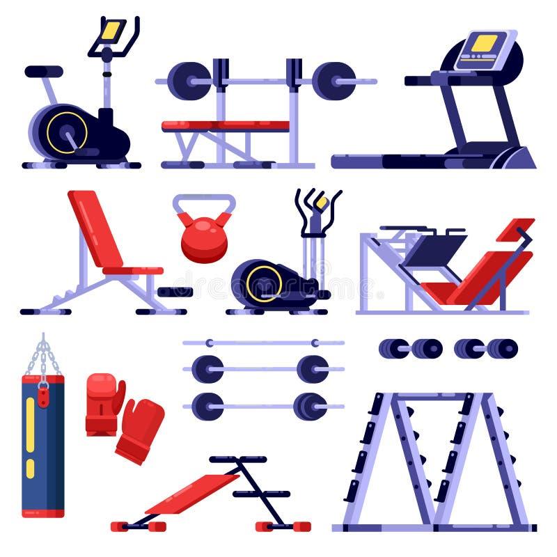 Uppsättning för idrottshall- och konditionklubbautrustning Utbildningsapparaturen, vektor isolerade illustrationen Bodybuilding b stock illustrationer