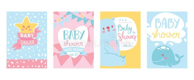 Uppsättning för illustration för baby showerkortvektor Gulliga inbjudankort för nyfött pojke- och flickaparti Inbjudanhälsning fö royaltyfri illustrationer