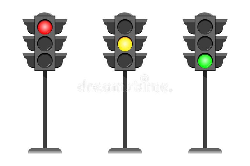 Uppsättning för illustration för design för symboler för manöverenhet för vektorbegreppstrafikljus som plan isoleras på vit bakgr vektor illustrationer