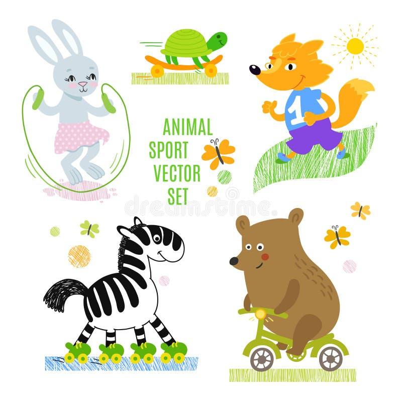 Uppsättning för illustration för djursportvektor royaltyfri illustrationer