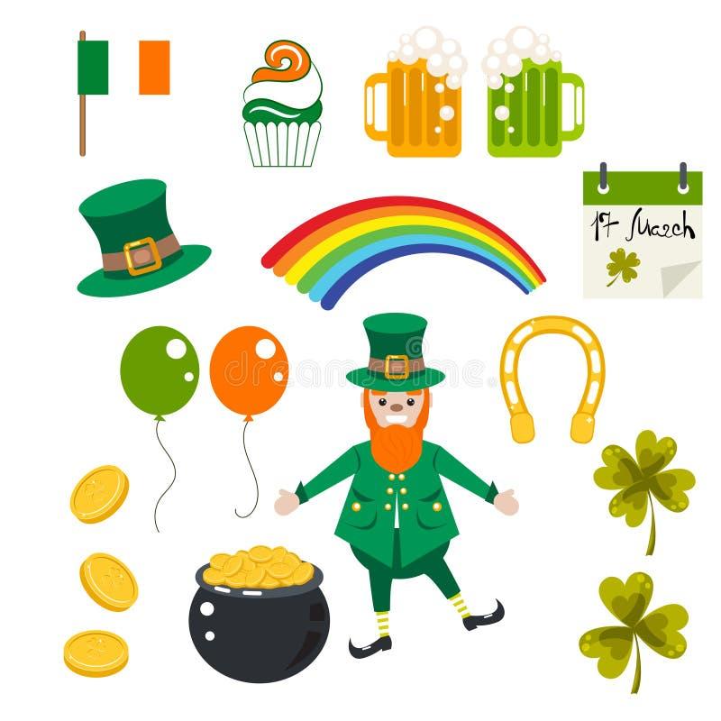 Uppsättning för illustration för St Patrick ferievektor stock illustrationer