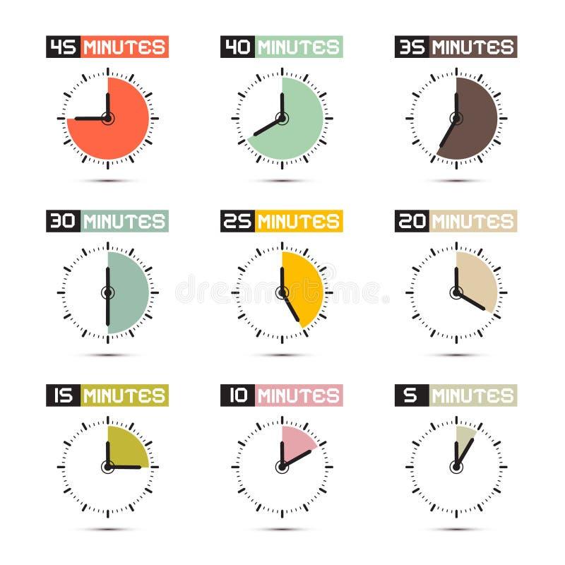 Uppsättning för illustration för vektor för klockaframsida stock illustrationer