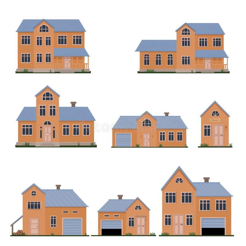 Uppsättning för illustration för familjhusvektor arkivbild