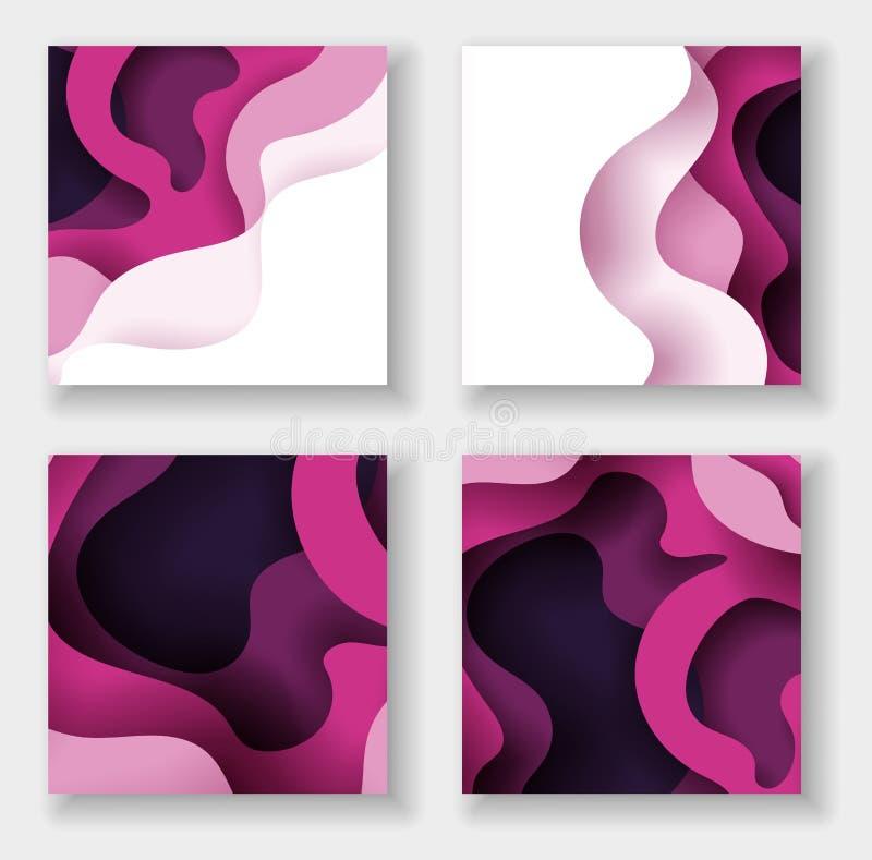 Uppsättning för illustration för konst för papper för Squareabstract färg 3d Kontrastf?rger stock illustrationer