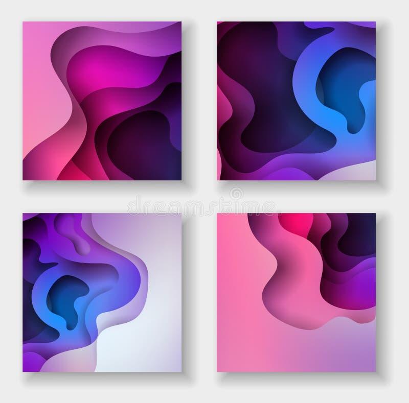 Uppsättning för illustration för konst för papper för Squareabstract färg 3d Kontrastf?rger royaltyfri illustrationer