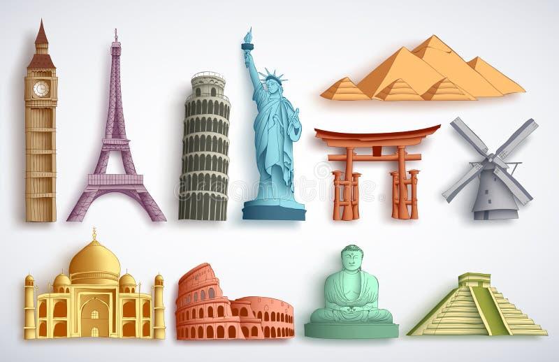 Uppsättning för illustration för loppgränsmärkevektor Berömda världsdestinationer och monument vektor illustrationer