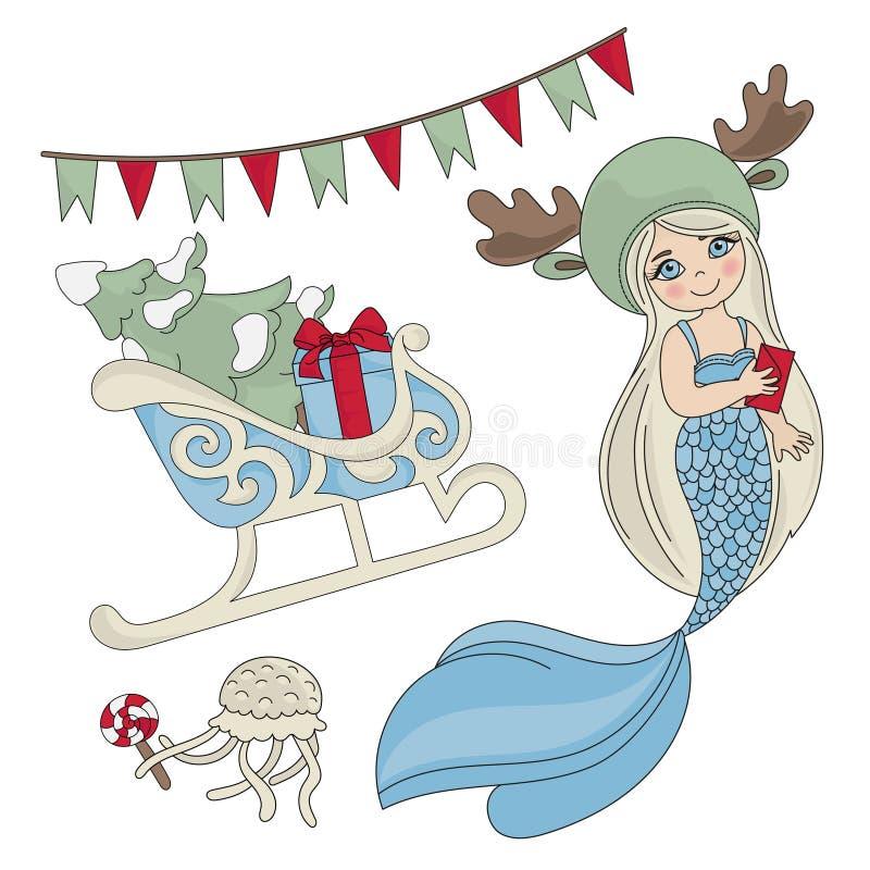 Uppsättning för illustration för vektor för färg för nytt år för SJÖJUNGFRUSLÄDE royaltyfri illustrationer