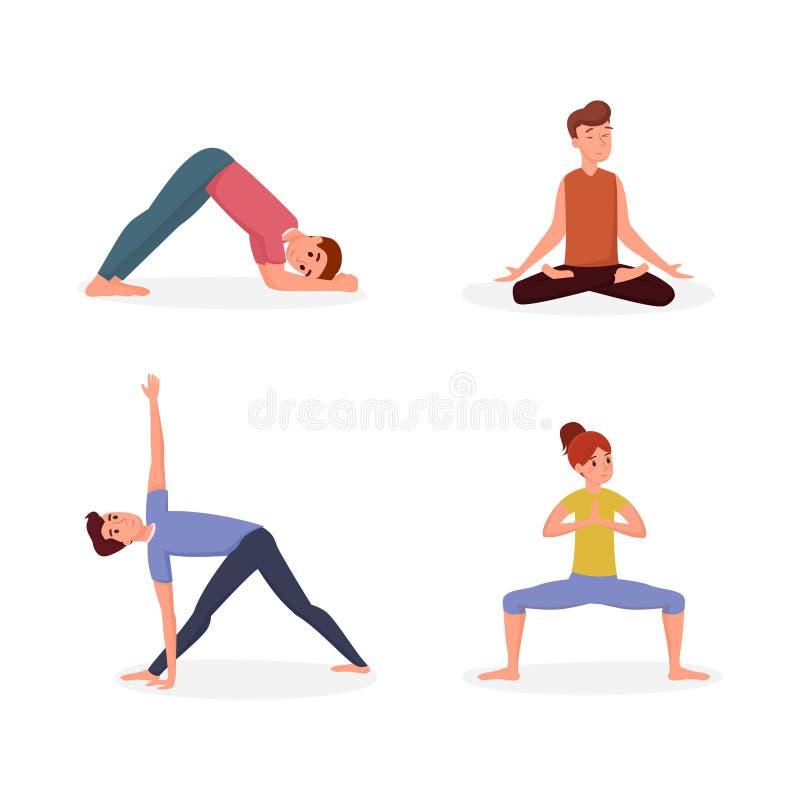 Uppsättning för illustration för vektor för yogakurs plan Folk som gör den yogaasanasmän och kvinnan som övar och att sträcka tec vektor illustrationer