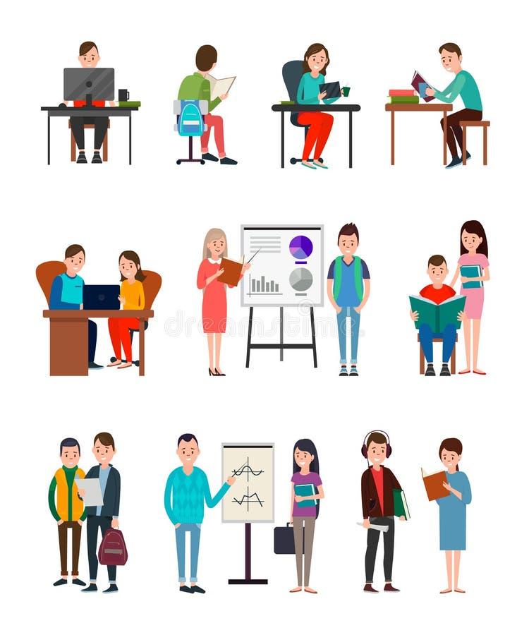 Uppsättning för illustrationer för folkLern ny information stock illustrationer