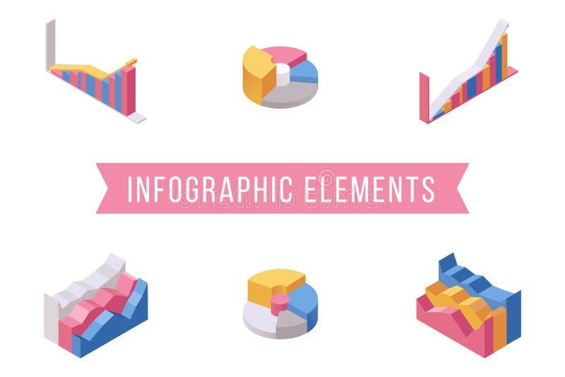 Uppsättning för illustrationer för infographic beståndsdelar för affär isometrisk Olika histogram, flerfärgad paj och diagram för stock illustrationer