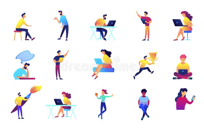 Uppsättning för illustrationer för IT-specialist- och formgivarevektor stock illustrationer