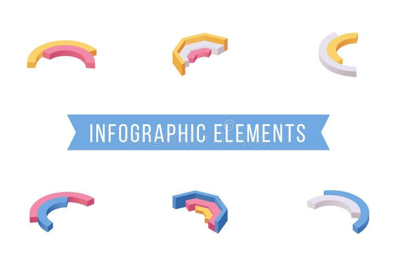 Uppsättning för illustrationer för vektor för Infographic beståndsdelar isometrisk Olika mång- jämna skivor för pajdiagram, runda stock illustrationer