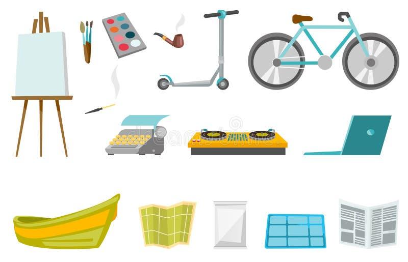 Uppsättning för illustrationer för vektor för konstsportteknologi royaltyfri illustrationer