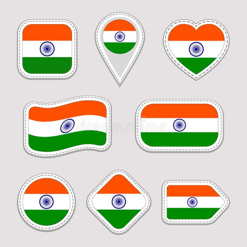 Uppsättning för Indien flaggavektor Indisk nationsflaggaklistermärkesamling Vektor isolerade geometriska symboler Rengöringsduk s royaltyfri illustrationer