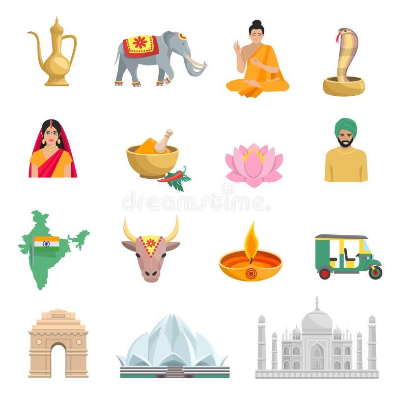 Uppsättning för Indien lägenhetsymboler vektor illustrationer