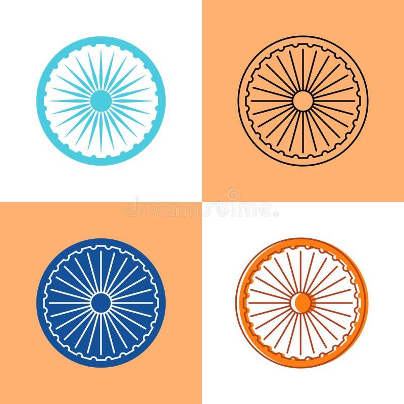 Uppsättning för indierAshoka Chakra symbol i lägenheten och linjen stilar vektor illustrationer