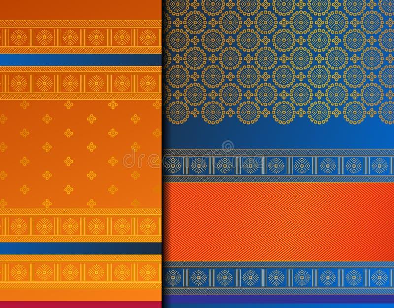 Uppsättning för indierPattu Sari Vector modell royaltyfri illustrationer