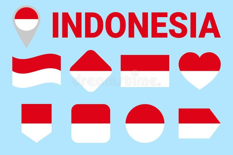 Uppsättning för Indonesien flaggavektor geometriska former Plan stil Indones sjunker samlingen Rengöringsduk sportsidor, medborga royaltyfri illustrationer