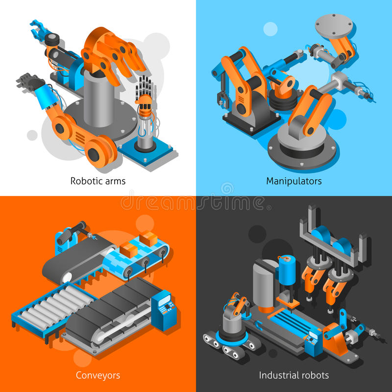 Uppsättning för industriell robot stock illustrationer