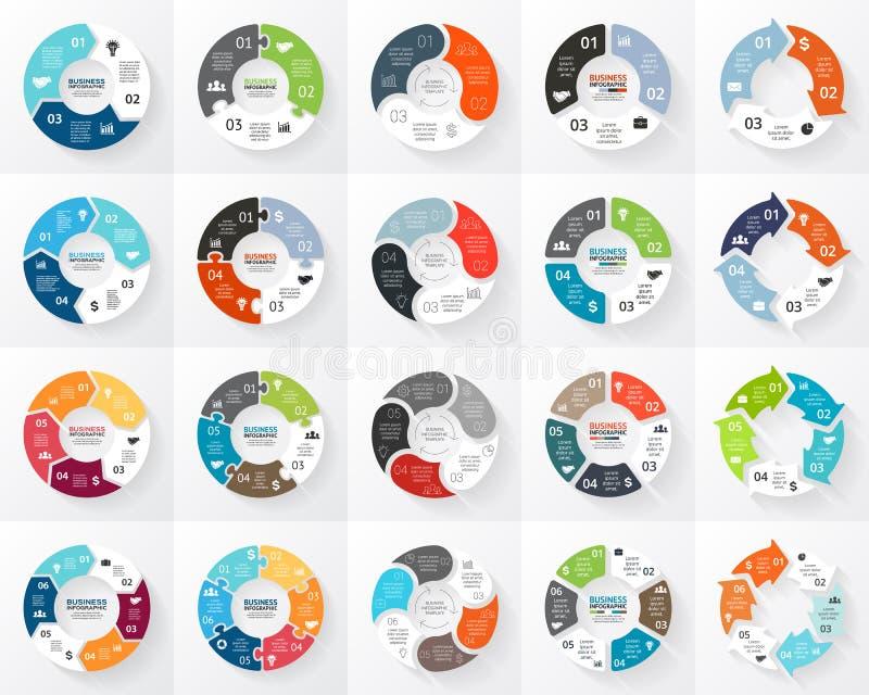 Uppsättning för infographics för vektorcirkelpilar 3 4, 5, 6 alternativ, delar, moment Mall för cirkuleringsdiagrammet, graf, pus royaltyfri illustrationer