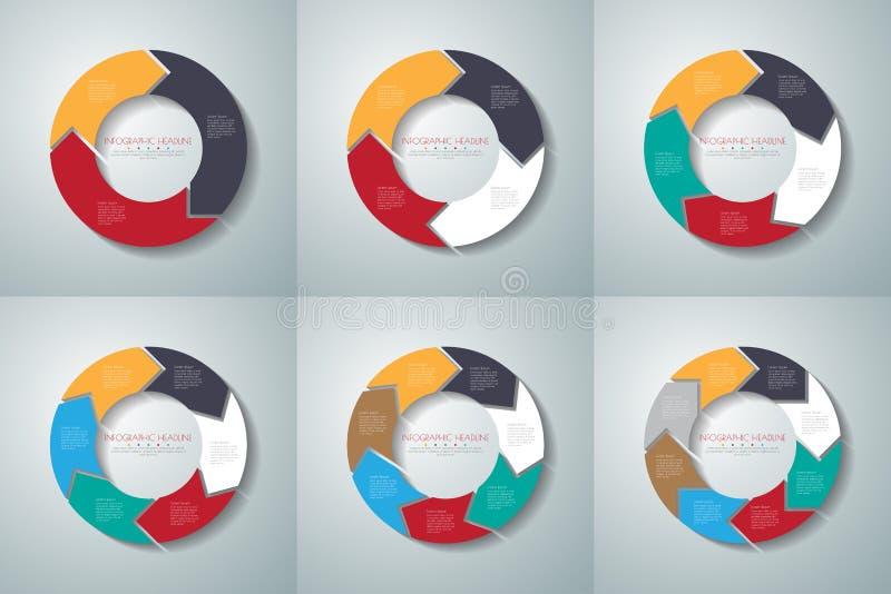 Uppsättning för infographics för vektorcirkelpilar Mall för diagrammet, gra royaltyfri illustrationer