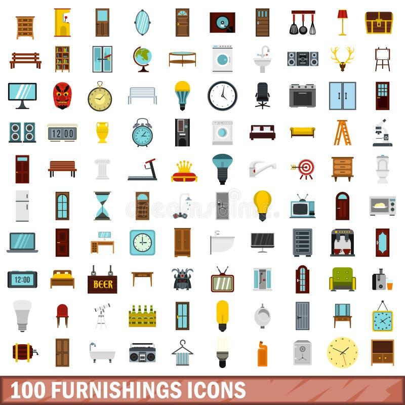uppsättning för 100 inredningsymboler, lägenhetstil stock illustrationer