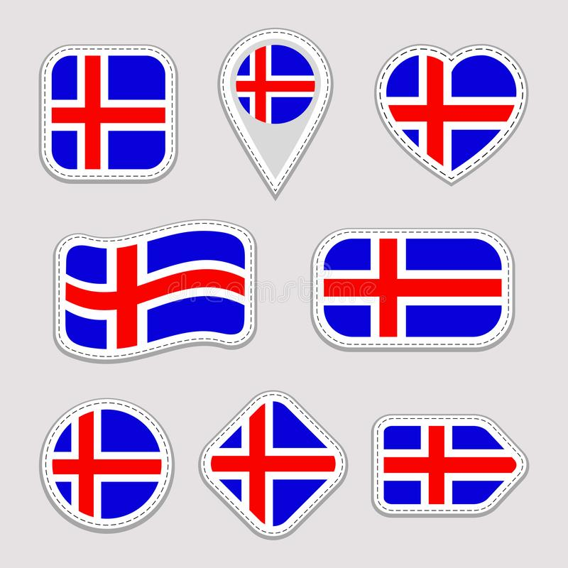 Uppsättning för Island flaggavektor Isländska nationsflaggaklistermärkear Isolerade symboler Traditionella färger Olikt geometris royaltyfri illustrationer