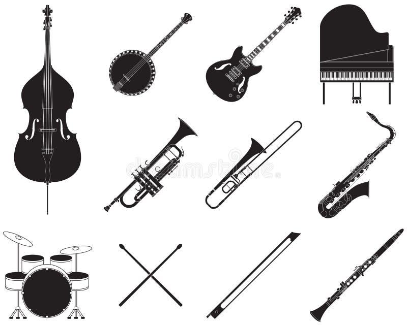 Uppsättning för jazzmusikinstrument stock illustrationer