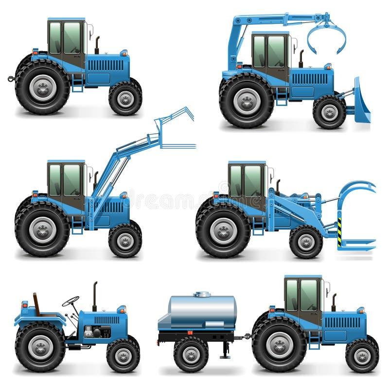 Uppsättning 2 för jordbruks- traktor för vektor stock illustrationer