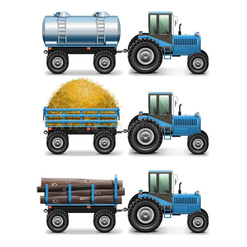 Uppsättning 4 för jordbruks- traktor för vektor stock illustrationer