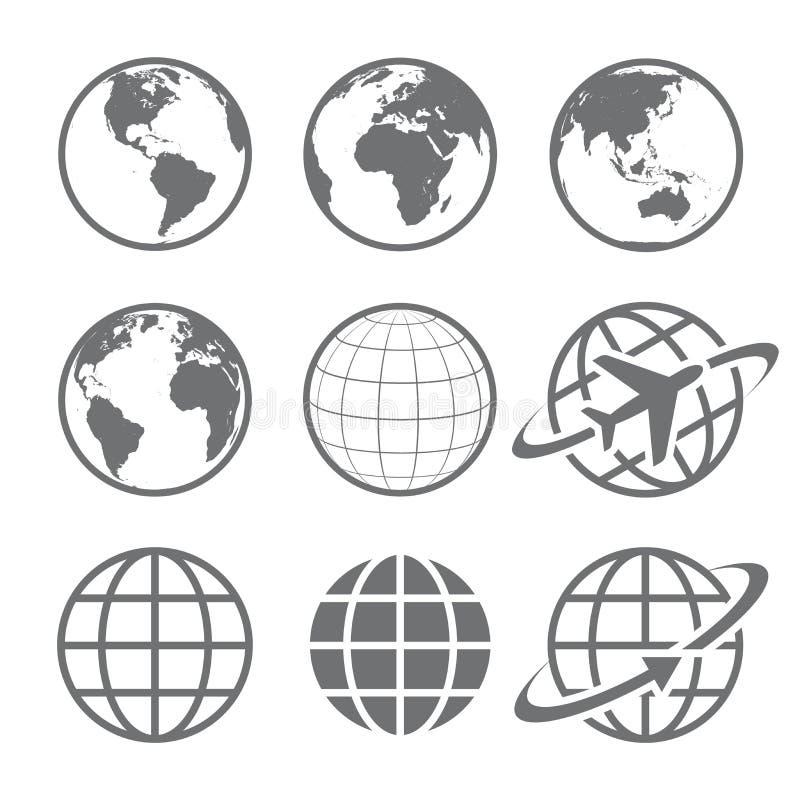 Uppsättning för jordjordklotsymbol stock illustrationer