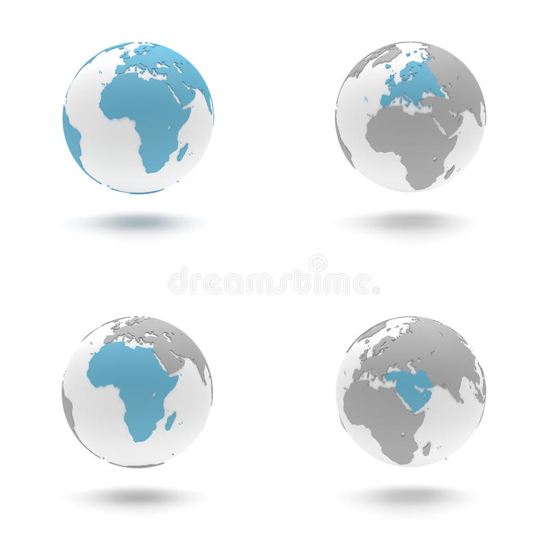 uppsättning för jordklot 3D - Europa, Afrika och Mellanösten vektor illustrationer