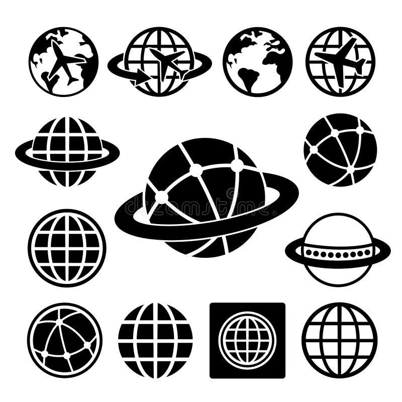 Uppsättning för jordklotvektorsymboler royaltyfri illustrationer
