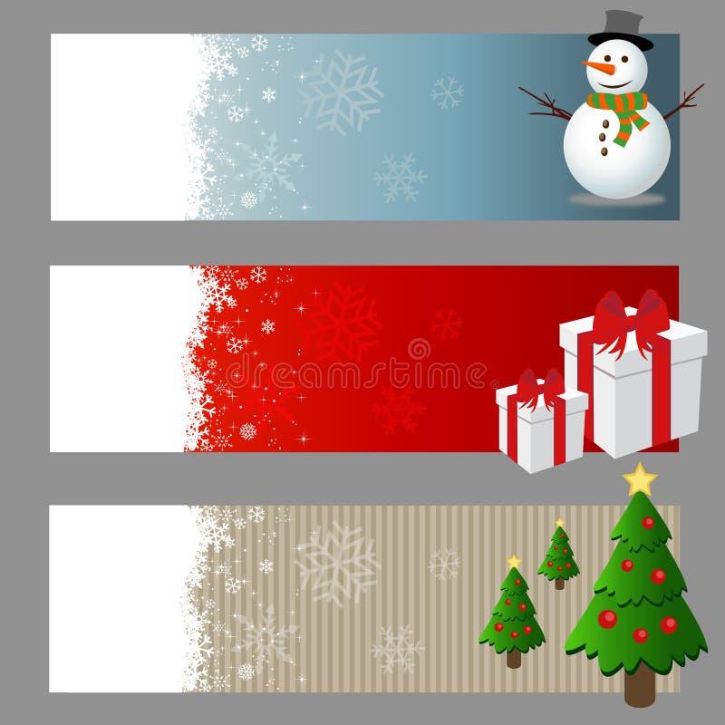 Uppsättning för julbanervektor stock illustrationer