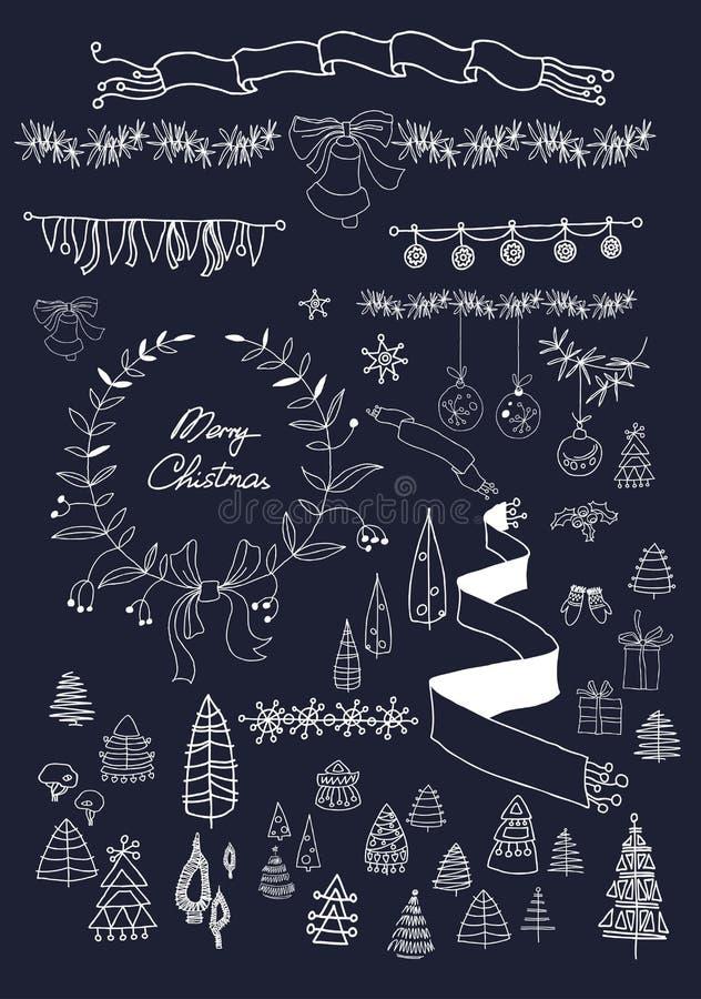 Uppsättning för juldesignbeståndsdelar på svart tavla 10 eps Inga lutningar royaltyfri illustrationer