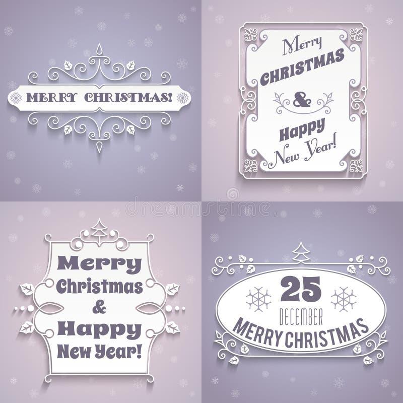 Uppsättning för juletikettvit vektor illustrationer