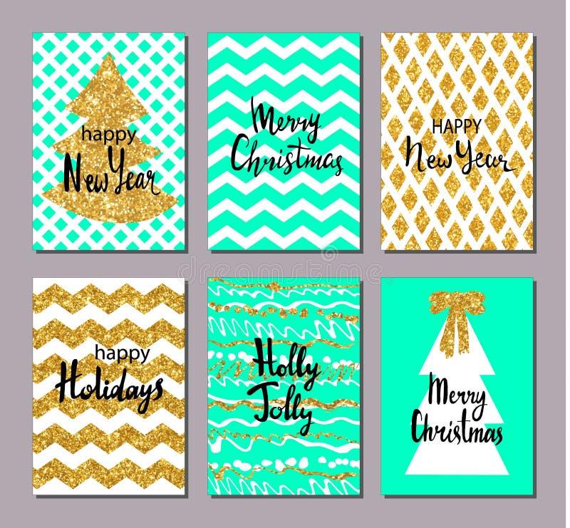 Uppsättning för julhälsningkort Guld akvamarin, vitfärger design tecknad elementhand Handskriven modern bokstäver vektor illustrationer